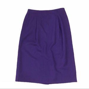 Talbots 100% Wool Deep Purple A Line Skirt